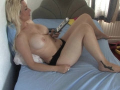 Free down blouse video of a topless blonde in knickers