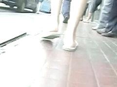 Sleek milf upskirt voyeur video on the street