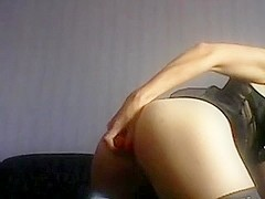 brunette put carrot deep in her ass and pussy