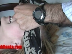 Cute submissive girl shows her dripping cunt