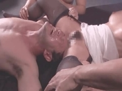 Japanese guy shoved his head in whore's cunt