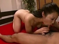 mature japanese pounded on red bed