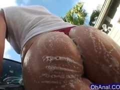 young brunette with a sweet round soapy ass
