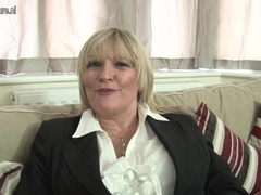 Hawt British mother shows her great pointer sisters and masturbates