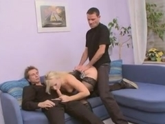 Hot german blonde in sexy lingerie with two cocks