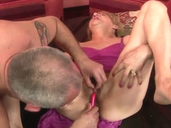 Granny Kati Bell is masturbated by sex toys