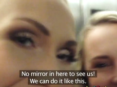 Girlfriends have fun in changing room and make asextape