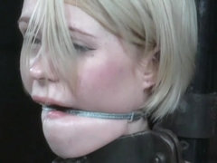 Restrained sub whipped in master dungeon
