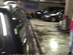 Female boss wanking cock in public garage