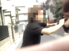 Instant top sharking attack with tall attractive Japanese slut being caught of her guard