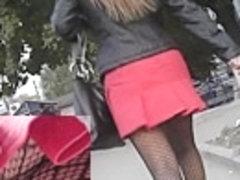 Dark fishnet hose up red petticoat
