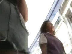 Voyeur video of upskirt shopping mall buffet of various ass