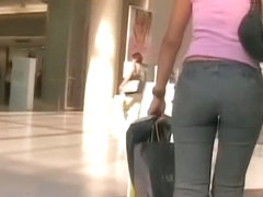 Enticing behinds caught on tape by a street candid cam