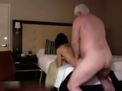 Grandpa fucks a paid girl in a hotel room