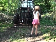 junior blonde does blowjob in the forest