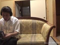 Nami Horikawa in hot school costume gets cum on her body