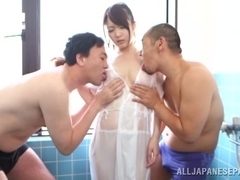 Amazing Asian babe Eri Hosaka has threesome in the shower