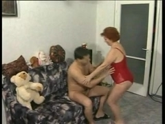 BBW redhead mature gets a young ramrod