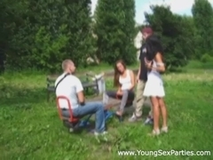 Young first-time swingers