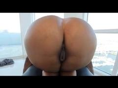 Huge penis enters pierced pussy of the booty Ebony slut