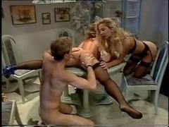Retro sluts and their men in a classic orgy porn movie