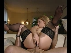 MILF Blonde fucked by dildo and a cock at the same time