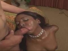 Ebony slut Candy Cane in fishnet stockings fucked in bedroom