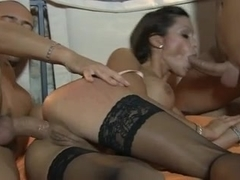 Milf gets a facial and a creampie in a threesome