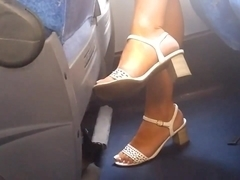 Candid milf feet on bus