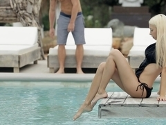 Oral sex by the pool