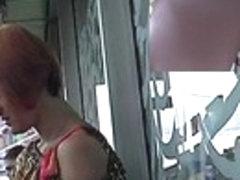 Chic redhead babe in spy upskirt episode