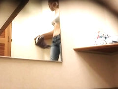 Gal uncovers small tits trying on bra on change room spy cam