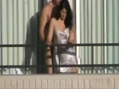 Caught Massive Man Fucking His Cutie on the Balcony!