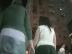 Candid camera video of a girls ass up her short denim skirt