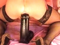 Sexy gay shemale with anal prolapse rides toys