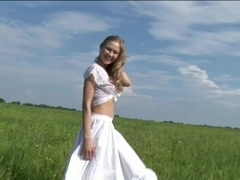 Fun Loving Newbie Frolicks In Field