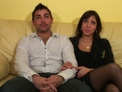 Horny French couple is interviewed before fucking