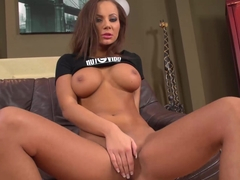 Euro chick fingers her pussy on the couch __