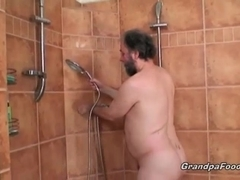 Sexy babe gets nasty with horny grandpa