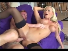 Fucking in darksome nylons with a breasty blond