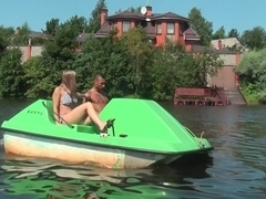 Titted golden-haired drilled hard in a boat