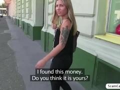 Alluring Cheryl sucks and fucks for cash