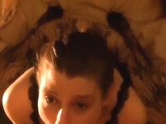 Amateur brunette showing me her cock sucking skills