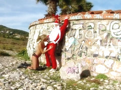 Sexy euro blonde Ivana Sugar takes Santa's dick in public place