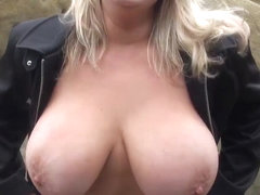 Big boobs MILF flashes in public then sucks and fucks