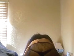 Black girl sucks and rides her white bf on the bed