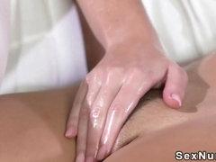 Blonde masseuse licked brunette hottie