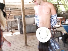 Teen cowgirl face spunked
