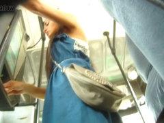Bus ticket buying brunette in blue upskirt voyeur video