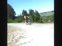 Nice big boobs bounce on bike